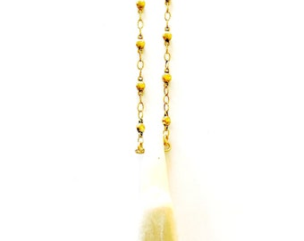 White Tooth Bead Necklace