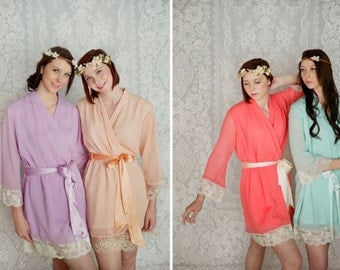 8 custom lace trimmed chiffon robes in a knee length. Dressing gowns. Bridesmaids robes and bridal robes.
