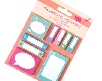 Set of 9 Colorful Sticky Notes