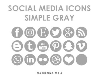 Social Media Icons Gray, Social Media Buttons, Grey Social Icons, Blog Icons, Website Branding, Blog Buttons, Gray Buttons