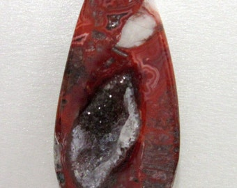 Mexican Lace Agate Cabochon with Druzy Cavity