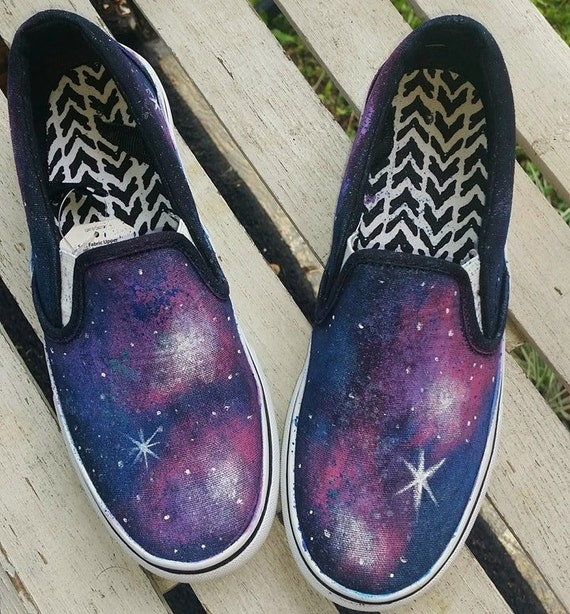 painted galaxy canvas shoes