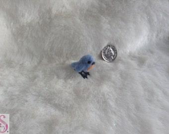 OOAK Handmade Tiny Needle felted bluebird display gift micro bird wool art decoration blue wedding collectable Needlefelt Sweet Miniature