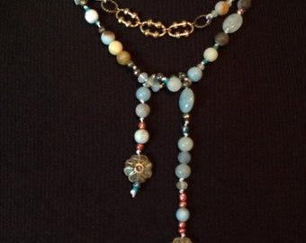 Long Wrap Lariat Y and Tie Necklace Semi Precious Gemstone Handmade Beaded Assemblage Boho Beachy Blue-Green One of A Kind, Wear it Your Way