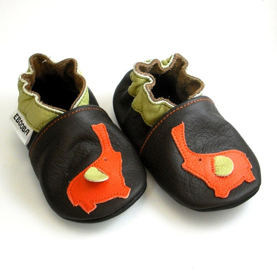 soft sole baby shoes leather infant children girl boy gift elephant orange dark brown 2 3 y bébés cuir souple chaussons ebooba EL-27-DB-M-5