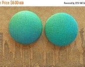 45% OFF SALE Button Earrings / Fabric Covered / Ombre / Wholesale Jewelry / Green Earrings / Small Gifts / Made in USA / Studs / Bulk Earrin