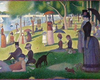 A Sunday Afternoon on the Island of La Grande Jatte-1884 - Vintage Image by Georges Seurat