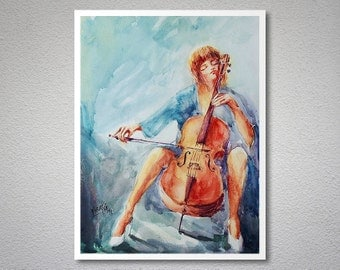 Cellist II  Watercolor Painting by Faruk Koksal - Print on 290 gr. Textured Fine Art Paper