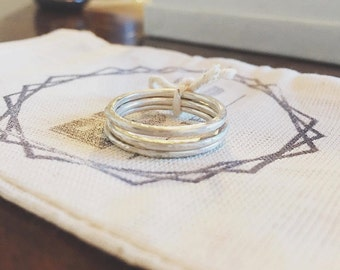Stackable Sterling Silver Rings // Set of 3 Rings // Made to Order