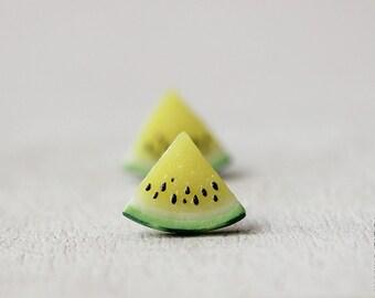 Yellow Watermelon Stud Earrings - Small Ear Studs - Earrings Post - Food Jewelry - Vegan Earrings