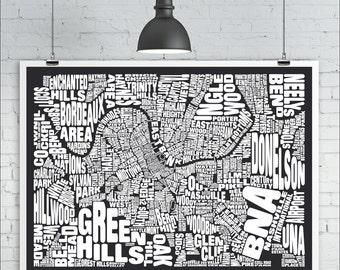 Nashville Neighborhoods Map Print - Custom Nashville Typography Map with Landmarks, Various Colors, Word Map Art Print Poster