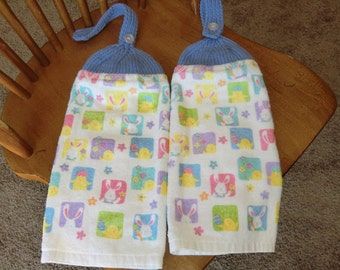 Easter - Chicks & Bunnies  Knit Top Kitchen Towels