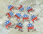 Ten (10) Enameled Pewter Republican Elephant Charms - 1418