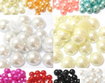 800pc Assorted Sizes Flat Back Pearls - White, Ivory, Peach, Pink, Blue, Red, Black