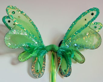 Large double panel green sequin fairy pixie wings