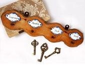 SALE Antique Italian Hook Hangers,vintage wall key hooks,rustic  towel rack,wood and porcelain Hook Hangers
