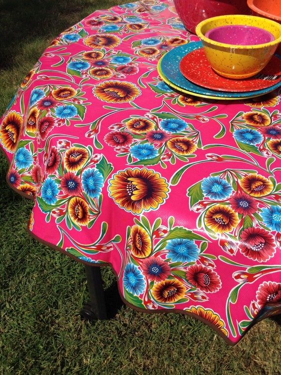 60 Oil Cloth Tablecloth Round Pink Spring Bloom No