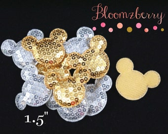 """1.5"""" Sequin Micky Mouse  Appliques/ Padded - Silver and Gold Mickey-  Sequin Appliques, Micky Mouse Appliques - Hair Accessories Supplies"""