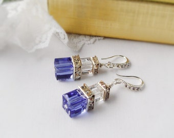 Crystal Cube Earrings, Sapphire and Clear Swarovski Cube Crystal Earrings  with Silver Plated Squardelles and Rhinestones