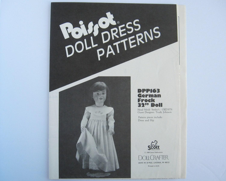Poissot DPP163 Nähen Muster Deutsch Kleid 32 Zoll-Puppe.