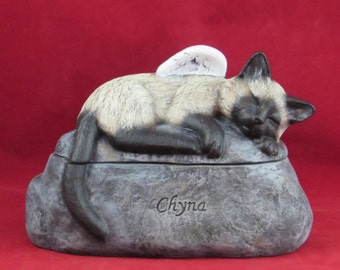 Ceramic Engraved Painted Siamese Cat Cremation Urn - hand made pet urn