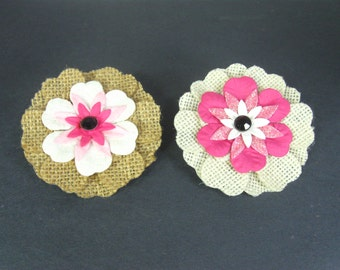 Girls Hair Accessories, Girls Hair Barrette, Alligator Clip, Toddler Hair Clip, Burlap Flower Hair Clip