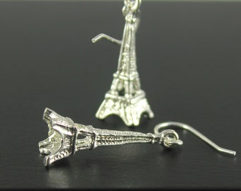 Eiffel Tower Earrings Sterling Silver - I Love Paris - French Collection - Valentine's Gift, Romantic Gift For Her