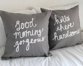 His and Hers Pillow Covers - in Grey 18 x 18 inch - Couple Cushions for him and her - Perfect Wedding Gift.