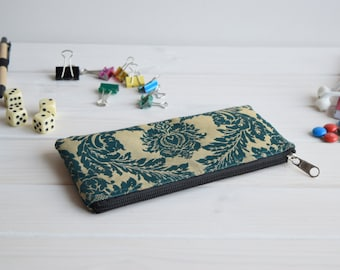 Pencil Pouch, Cosmetic pouch, Damask Makeup bag, Charger bag, Project bag, Travel bag, Bridesmaid gift, Bridal purse, Teal pencil case