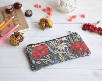 Pencil Pouch, Cosmetic pouch, Make Up Pouch, Charger bag, Project bag, Travel bag, Bridesmaid gift, Bridal purse, Poppies pencil case