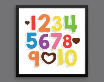 I LOVE YOU (Rainbow Bold) Framed Number Poster Print - Nursery, Kids Room, Wall Art Modern