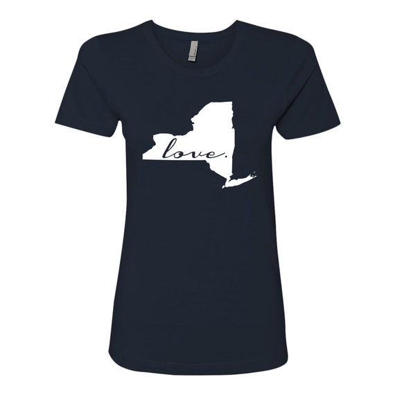 State Love (Cursive) Soft Next Level Ladies' Boyfriend Tee (Midnight Navy Blue)
