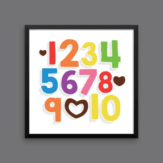 I LOVE YOU (Rainbow Bold) Framed Number Poster Print - Nursery, Kids Room, Wall Art Modern