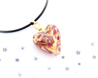 pendant necklace heart Murano glass 24 k gold leaf