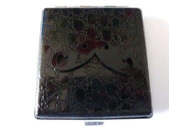 Big Cigarette Case Moustache Steampunk Case Vintage Style Metal Case Antiqued Brass Gothic Victorian Case