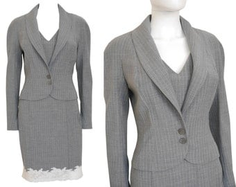 JOHN GALLIANO 1990s Vintage Skirt Suit Jacket Blazer Pinstriped Light Gray White Lace US Size 6 Small