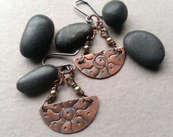 Copper Chandelier Earrings, Stamped Warm Copper Dangles, Gold Plated Beads, Sterling Silver Ear Wires, Oxidized Rustic Boho Bohemian Chic