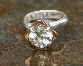 Rose Gold and Sterling Silver Ring set with Antique cushion faceted Green Amethyst