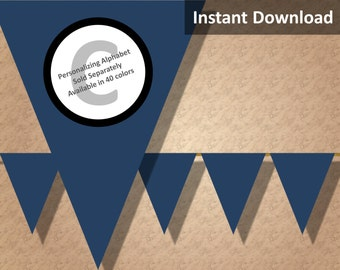 Dark Navy Blue Solid Birthday Party Bunting Pennant Banner Instant Download, Party Decorations