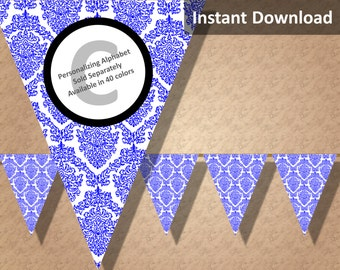 Royal Blue and White Damask Bunting Pennant Banner Instant Download, Party Decorations