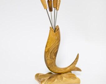 Cocktail Fork Holder Hand Carved Olive Wood Fish Motif 1960s Spain