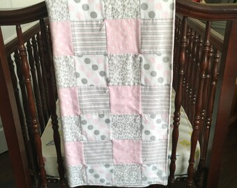 Baby Girl Quilt Pink and Grey Cheetah Print Baby Quilt