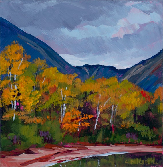 Maine Landscape Painting Katahdin Lake 14-4