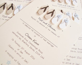 Personalised Handmade Flip Flops Beach Wedding Invitation Sample