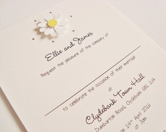 Personalised Handmade Daisy/Gerbera Wedding Invitation Sample