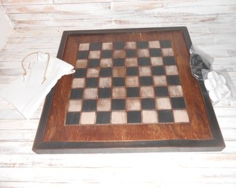 Wood Checkerboard- Handmade-Black and White Wood Checkerboard-Checkerboard Game-Checkerboard Wall Art-Checkered Game Board
