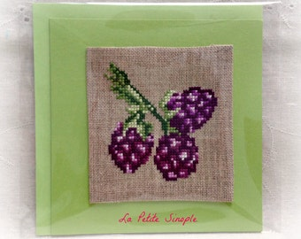 "Embroidered card ""Blackberries"""
