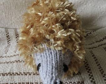 Hedgehog made from eyelash yarn.