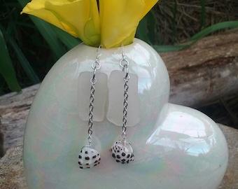 Kauai beach glass dangle earrings with drupe shell
