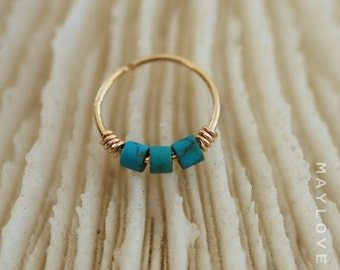 Thin Helix earring - Cartilage earring - tragus piercing hoop ring- turquoise piercing - December birthstone - Extra Thin tiny hoop